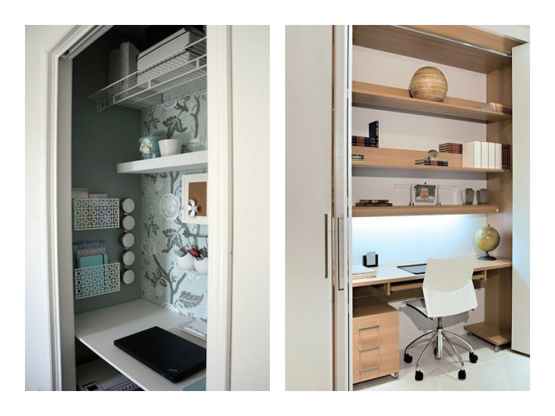 un bureau caché dans vos placards